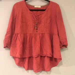 Rewind large high low peasant blouse